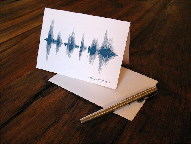 Happy Fourth of July - Voice Art / Sound Wave Greeting Card  -  Patriotic Independence Day Soundwave Design for 4th of July