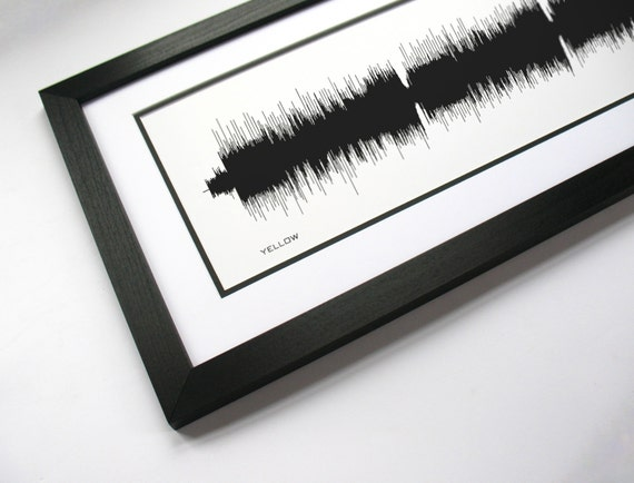 Yellow Sound Wave Art Print created from the entire song.