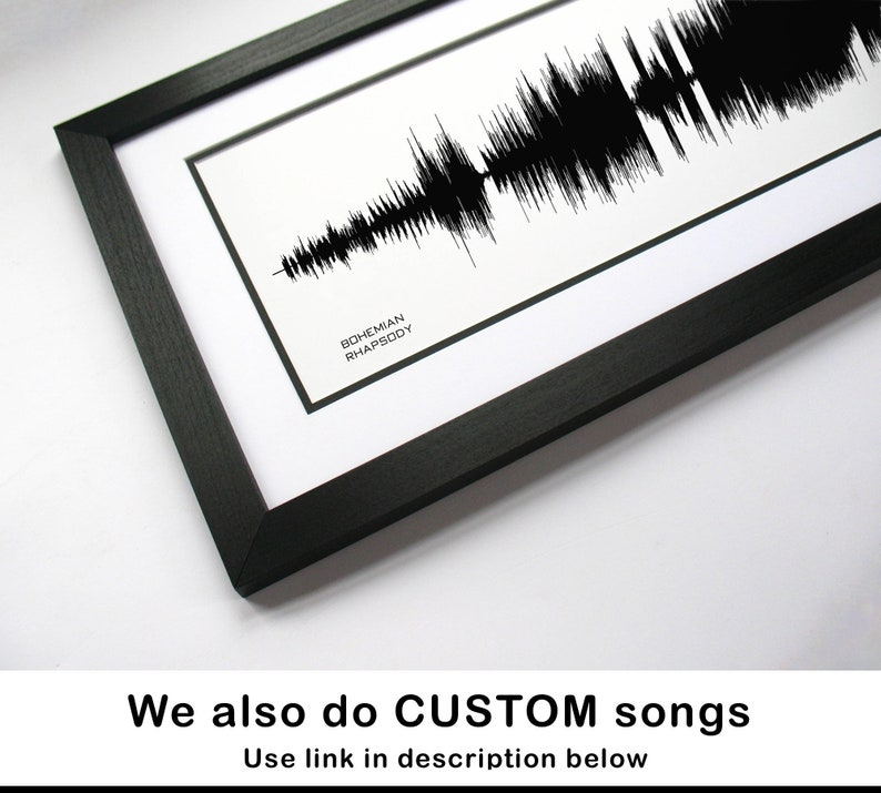 Bohemian Rhapsody - Song Poster - Sound Wave Art, Music Art Print Poster /  Canvas Art for Music Room, Classic Rock Song