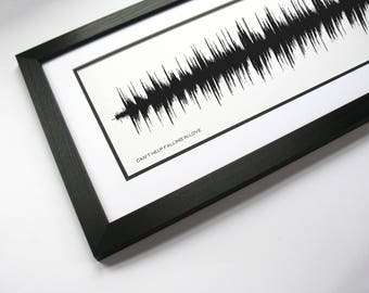 Can't Help Falling in Love: Sound Wave Art, Music Canvas or Poster Print - Paper Anniversary Gift or Valentine's Idea