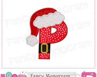 christmas monogram p appliquesanta claus letter p appliquepbirthday letter p applique font p designmachine embroidery 03