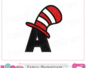 Cat Hat Monogram A AppliqueCat Letter AppliqueACat HatFont ACat AppliqueABirthday Design 01