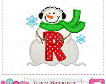 snowman monogram r appliquesnowmanletter r appliquerfont rchristmas appliquerbirthday letter r designnew yearrwinter applique