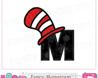 cat hat monogram m appliquecat hat letter m appliquemcat hatfont m letter mcat hat appliquemalphabetbirthday letter design 01