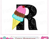 ice cream cone letter r appliqueice cream monogram r appliquersummer appliquerice creamfont rrbirthday letter r design