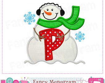 snowman monogram p appliquesnowman letter p appliquepfont pchristmas appliquepbirthday letter mnew yearpwinter applique 1606
