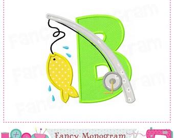 fishing letter b appliquefish monogram b appliquebgo fishingfish appliquebfish polefishingfishing designfishingsummer applique 01