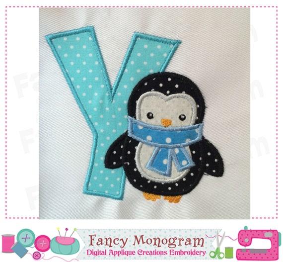 Penguin Monogram Y Appliquepenguin Letter Y Designletter Y Etsy
