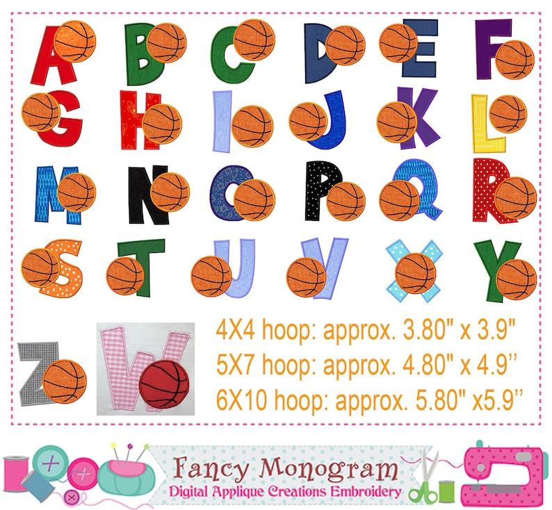 Basketball Alphabet embroidery - Monogram applique - Basketball Letters  embroidery - 26 Fonts embroidery - Basketball embroidery -1536