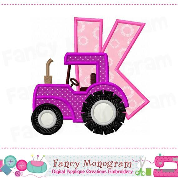 tractor monogram k appliquetractor letter k appliquekfont