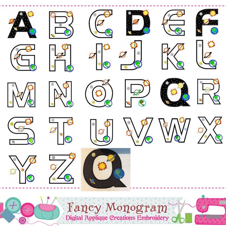 8893d6f937a842 Planet Monograms appliqueUniverse Letters appliqueFonts