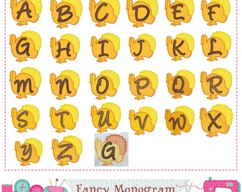 Thanksgiving Letters applique,Turkey Monogram A~Z applique,Alphabet,Fonts design,Birthday letters,26 letters,Turkey applique,-1699