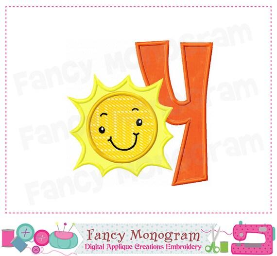 Sun Letter Y Appliquesummer Monogram Y Designsun Etsy