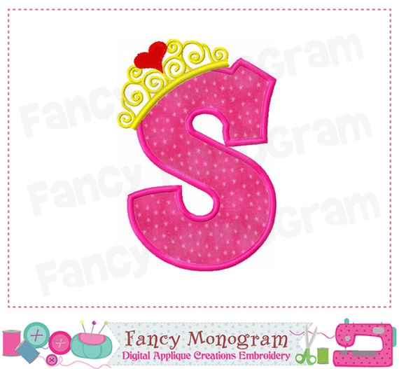 Items Similar To Pincess Crown Monogram S Applique Letter S Applique