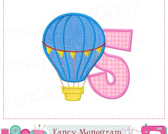 Hot Air Balloon Number 5 applique,My 5th Birthday,5,Hot Air Balloon,Number 5,Hot Air Balloon applique,5,Babies applique.-1788