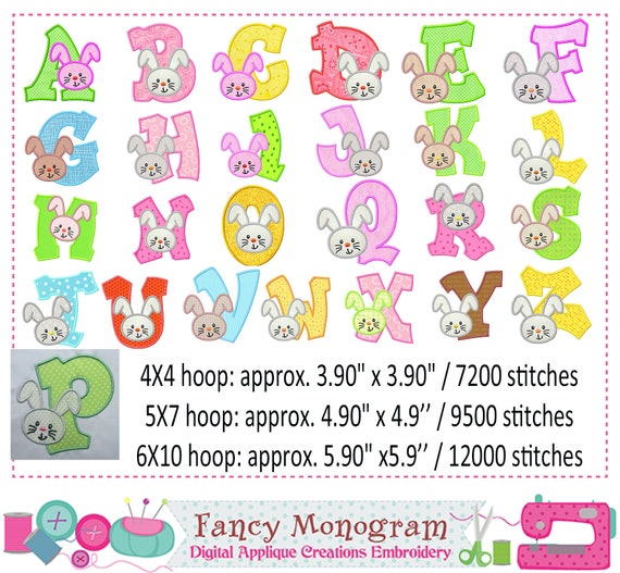 Easter letters applique - Bunny Monogram A~Z applique - Fonts embroidery -  Alphabet embroidery - Bunny embroidery - Birthday embroidery 1536