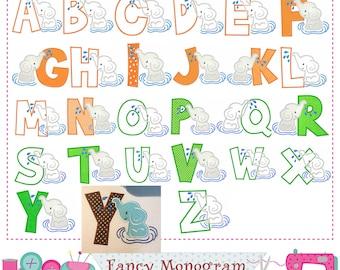Summer letters applique,Elephant Monogram applique,A~Z,Fonts,Elephant,Alphabet,Summer Letters,Birthday letter,Elephant applique.-8528