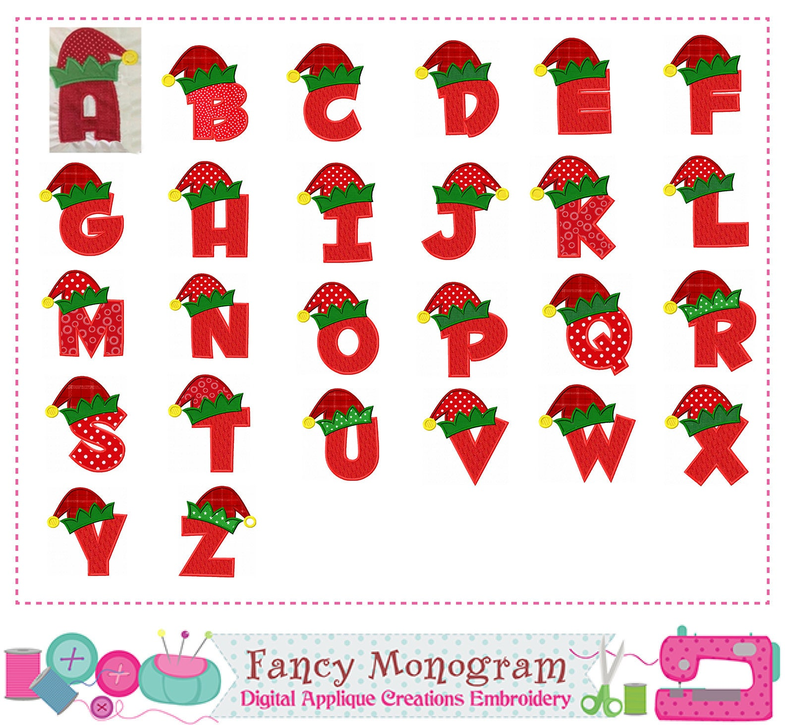 Elf letters appliquechristmas elf monograms appliqueelf etsy - Alphabet noel ...