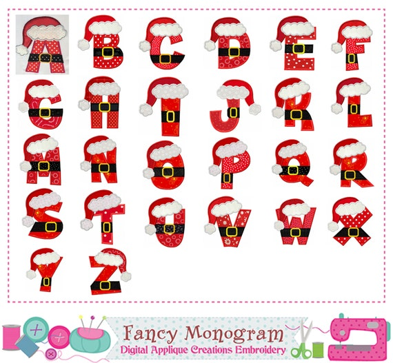 Christmas Letters.Santa Claus Letters Applique Christmas Monograms Applique Christmas Letters Design Alphabet Christmas Design Fonts Applique 26 Letters 1412