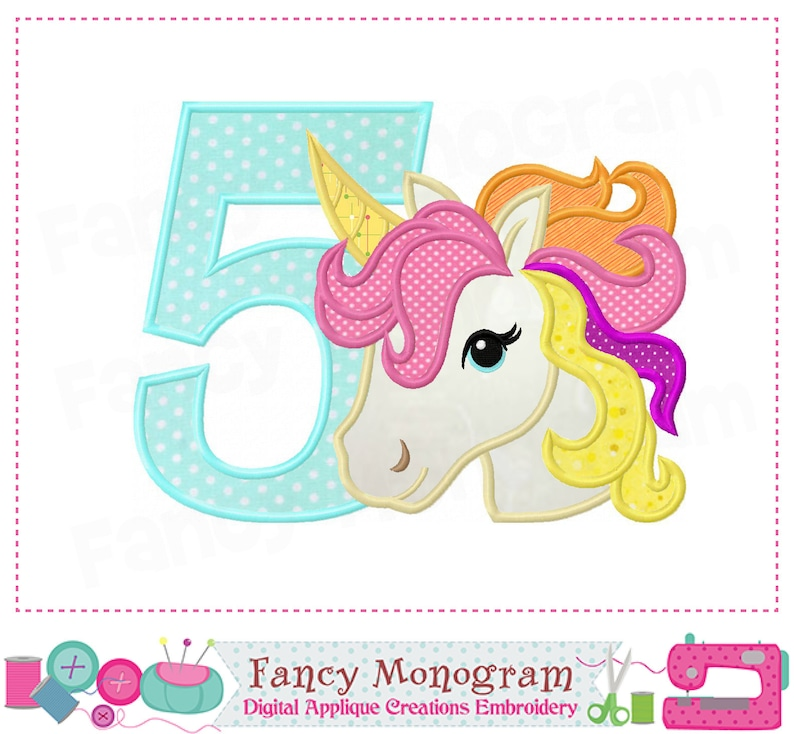 Rainbow unicorn Number 5 applique,Rainbow unicorn,My 5th Birthday,5,Number  5,Rainbow unicorn applique,5,Girl applique,Girl Birthday