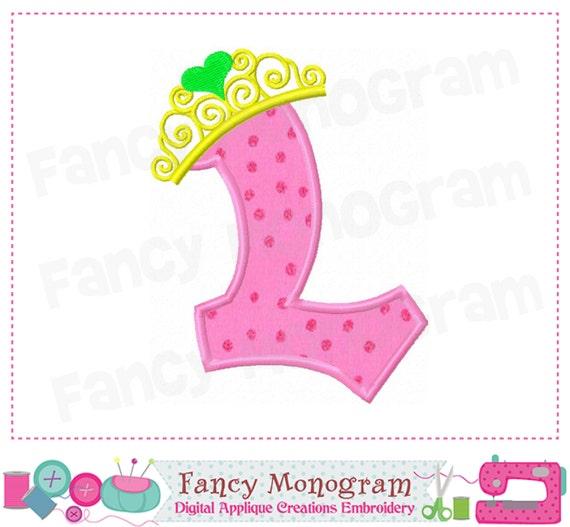 Pincess Crown Monogram L Appliquebirthday Letter L Etsy