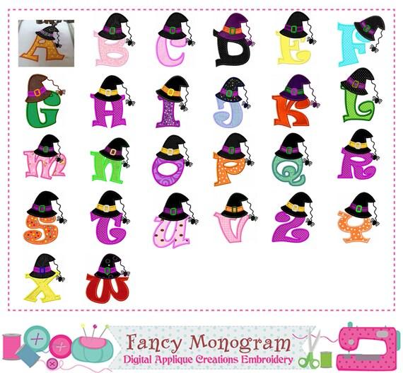 Witch hat Monogram A~Z applique,Halloween,Letters applique,Fonts  applique,Alphabet applique,Letters design,Halloween,Witch applique