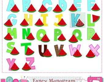 Watermelon Monograms applique,Summer Letters applique,Watermelon,Birthday Letters,Alphabet,Fonts design,26 letter,Summer applique.-1563