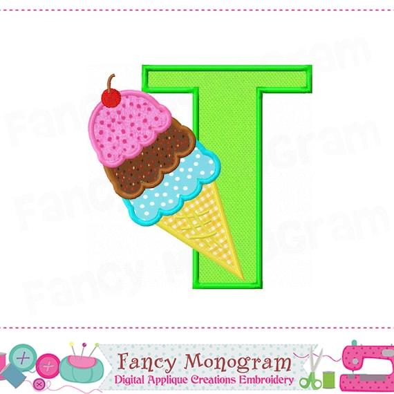 Ice cream cone letter t appliqueice cream monogram t etsy image 0 ccuart Images