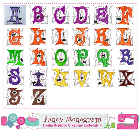 Halloween Monogram A~Z applique,Halloween Letters applique,Spider,Fonts  applique,Halloween applique,Alphabet,Halloween,Spider applique.,05