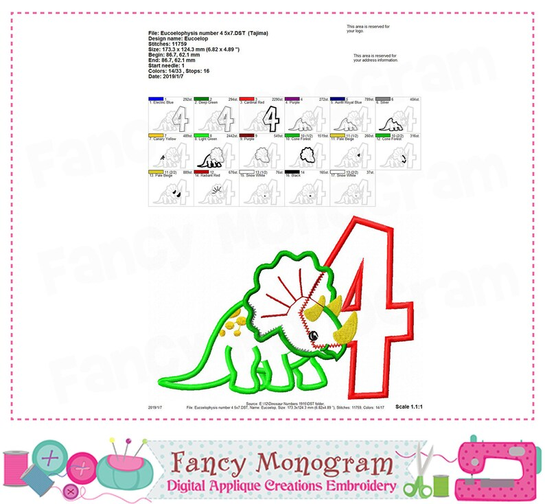 My 4th Birthday Dinosaur design Eucoelophysis applique Dinosaur Number 4 design Birthday Number 4 applique -1915 Dinosaur applique