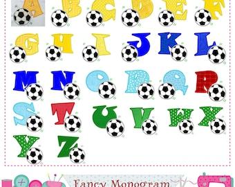 Soccer Monograms applique,Soccer letters applique,Soccer,Alphabet,Sports Letters,Fonts design,26 Letters,Football applique.-1567