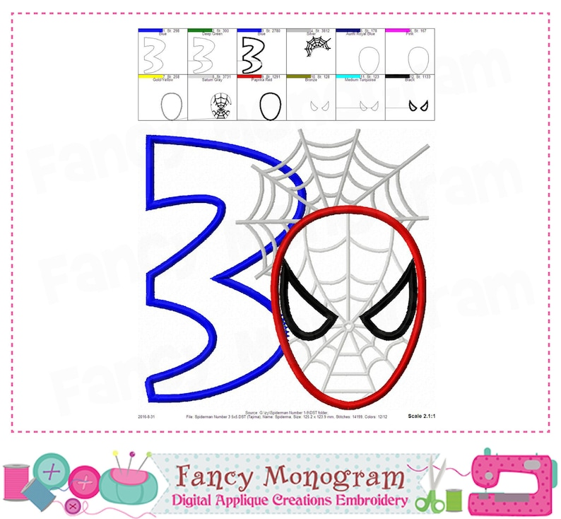 Spiderman Number 3 Applique Birthday Embroidery My 3rd