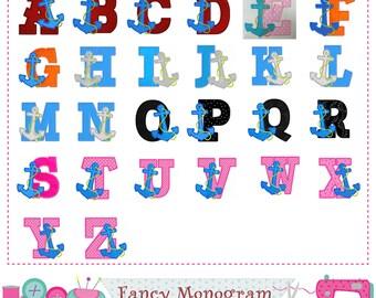 Anchor Monogram A~Z applique,Anchor Letters applique,Fonts design,Anchor,Birthday Letters,Alphabet,Fonts,26 letters.-01