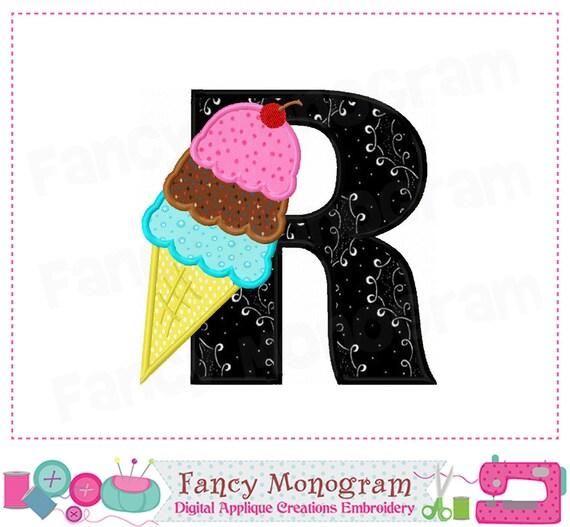 Items Similar To Ice Cream Cone Letter R Applique Ice Cream Monogram