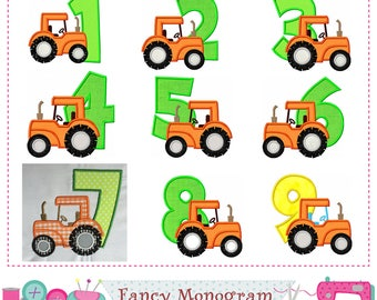 Tractor Numbers applique,Birthday Numbers applique,Tractor applique,Tractor,Farm design,Tractor embroidery,Farmer applique.-1749