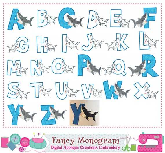 Shark letters applique,Summer Monogram A~Z applique,Fonts,Shark,Shark  design,Alphabet,Birthday Letters,Summer letter,Shark applique -8520