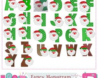 Santa Claus Monograms applique,Christmas Letters applique,Christmas applique,Santa Claus,Alphabet,Fonts applique,Letters design,-11