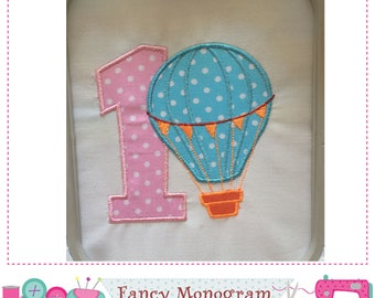 Hot Air Balloon Number 1 applique,My 1st Birthday,1,Hot Air Balloon,Number 1,Hot Air Balloon applique,1,Babies applique.