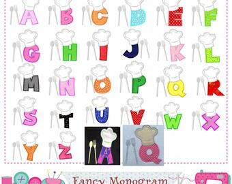 Chef's Hat Letters applique,Chef Monograms applique,Chefs design,Birthday letters,Fonts,Alphabet,Chef's Hat.-1533