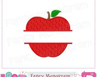 Split school apple,Apple applique,Apple design,Apple embroidery,Apple,School applique,School design.-1776