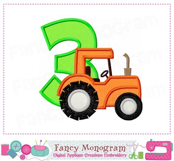 Traktor Nummer 3 Applikationen Traktor Applikation Traktor Etsy