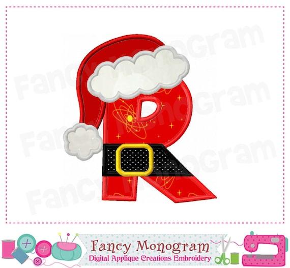 Christmas Monogram R Applique Santa Claus Letter R Etsy