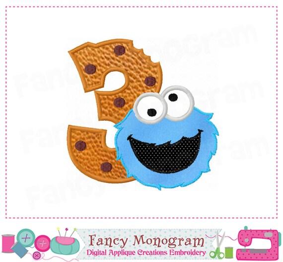 Cookie Monster Number 3 AppliqueBirthday Number 3