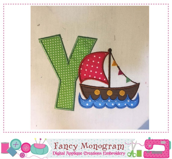 Flag Sailboat Monogram Y Appliquesummer Letter Y Etsy