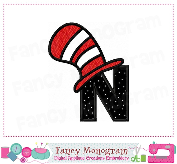 Cat Hat Monogram N Appliquecat Hat Letter N Appliquencat Etsy
