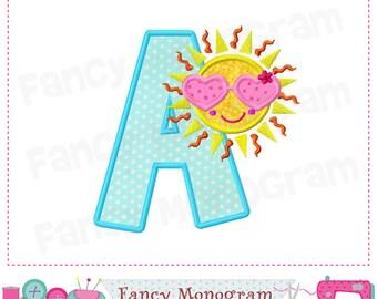 Sun letter A applique,Beach A applique,Sun applique,A,Beach,Font A,Summer applique,Birthday letter A  applique,Sun design,Sunshine design.