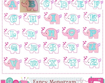 Elephant letters applique,Elephant Monogram A~Z applique,Fonts,Elephant,Elephant design,Alphabet,Birthday Letters,Valentine's Day.-1844