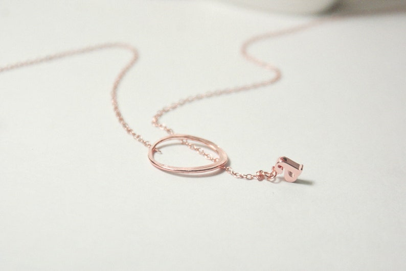 Eternity Love Necklace set,Personalized bridesmaid gift set,Letter.Initial,Name.Rose Gold Circle Charm,Pink Gold Ring Pendant,Karma Necklace