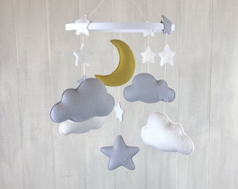 Baby mobile - cloud mobile - star mobile - hoop mobile - baby crib mobile - moon mobile - gender neutral - gold mobile