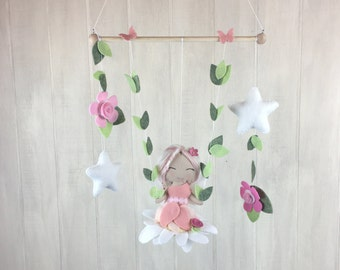 Baby mobile - fairy mobile - felt flowers - butterfly mobile - tree swing mobile - fairies - cloud mobile - childrens room decor -